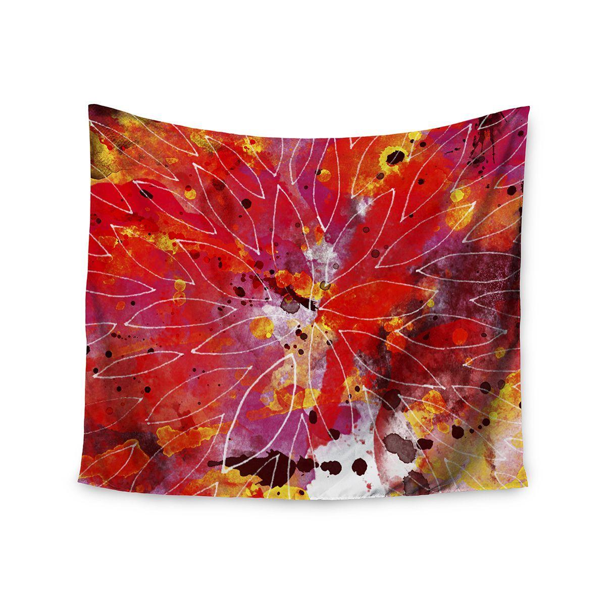 Kess InHouse Li Zamperini 'Flame' Yellow 51x60-inch Tapestry
