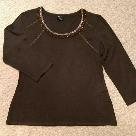 Great beaded neckline top. Cute chocolate brown 3/4 sleeve stretch top with gorgeous beaded neckline. Like new. Fitted style. Tribal Sportswear Tops