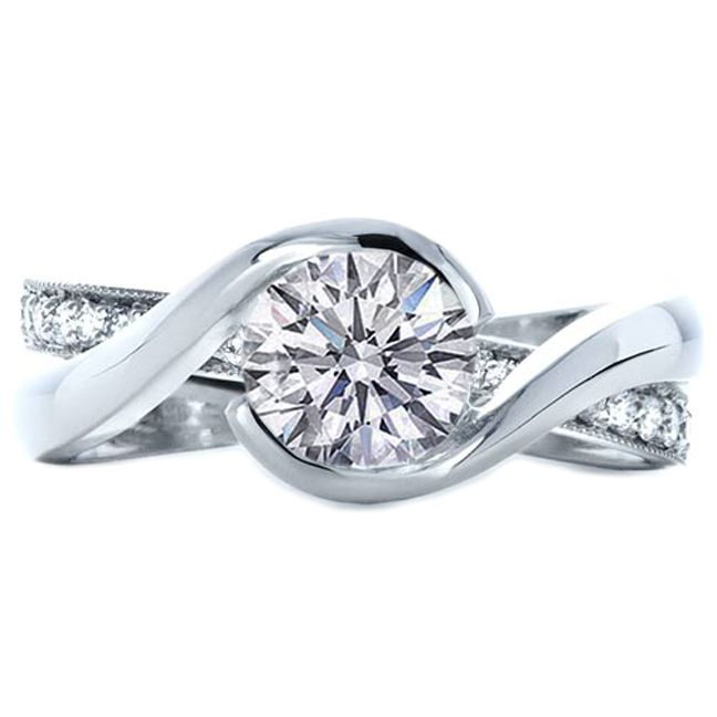 Round Diamond Twisted Criss Cross Pave Diamonds Engagement Ring In 14K White Gold