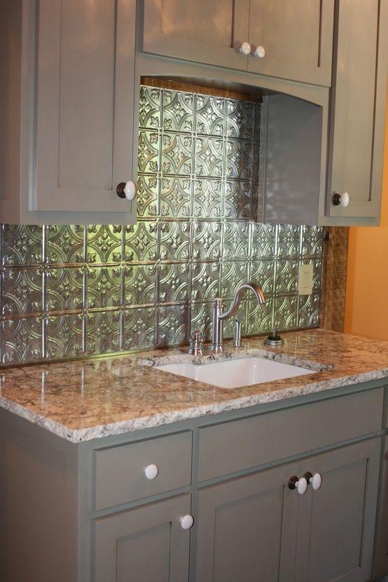 Tin Backsplash With Grey Cupboards Kitchen Cupboards