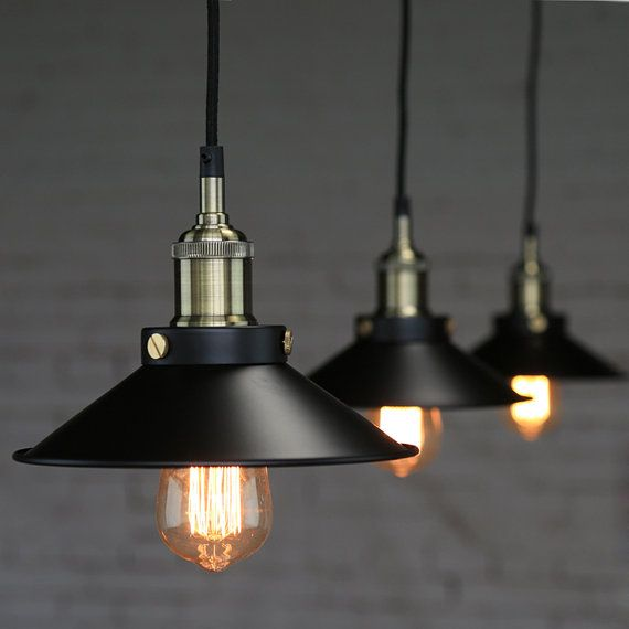 Acier luminaire Edison pendentif lampe plafonnier suspension