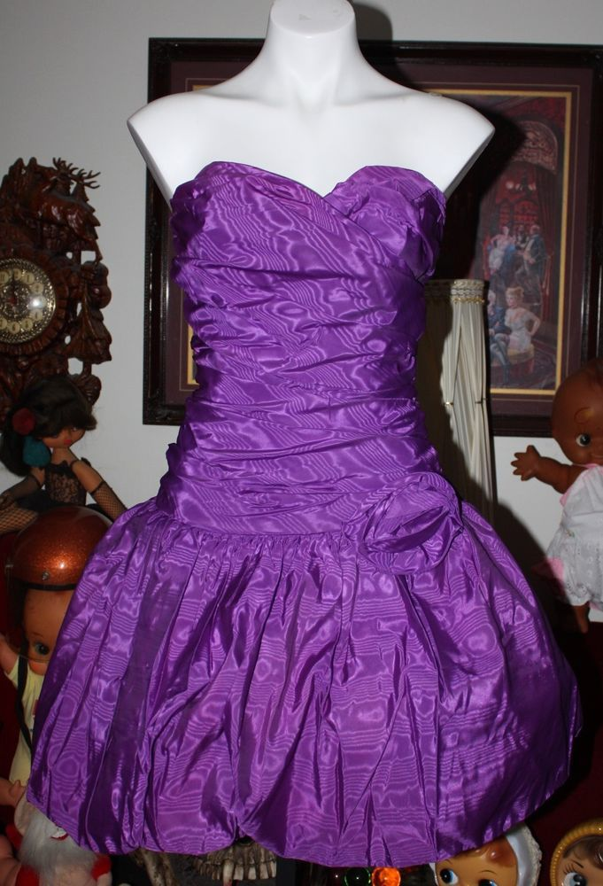 Vintage 80 S Prom Party Dress Purple Bubble Poufy Valley Girl