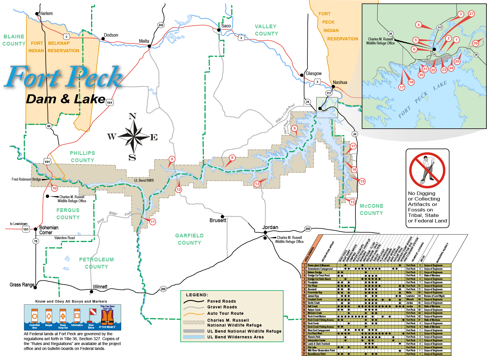 fort peck lake map Fort Peck Recreation Brochure Map Missouri River Fort Peck Dam fort peck lake map