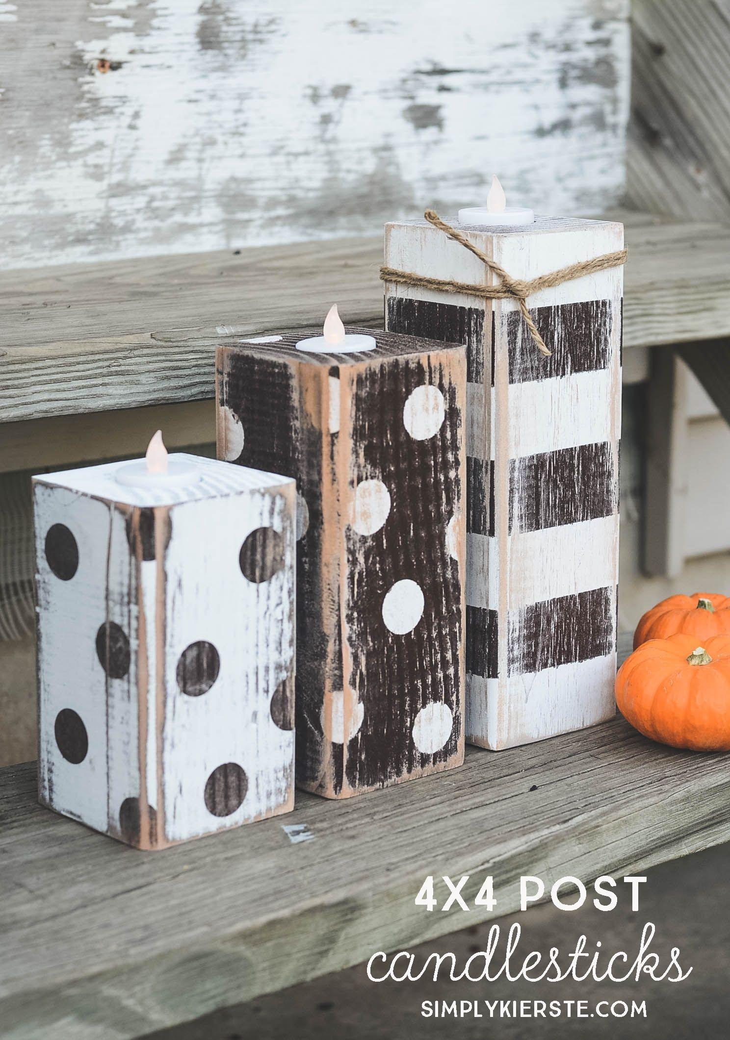 4x4 Wood Crafts 4x4 Post Striped Polka Dot Pumpkins
