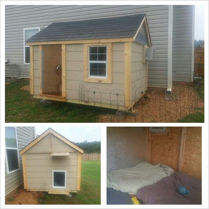 Our custom dog house for our mastiffs complete with for How to build an air conditioned dog house