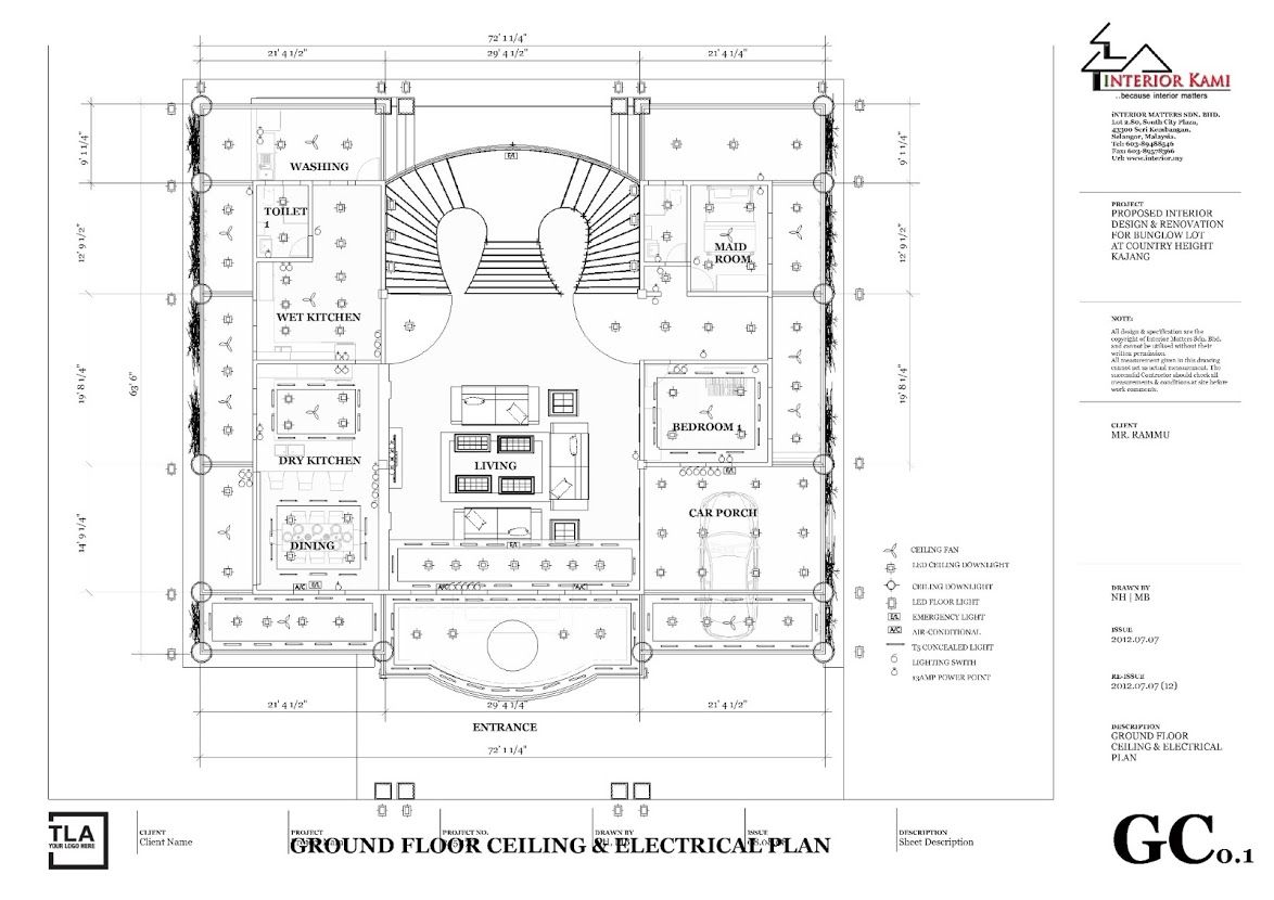 Ground Floor Ceiling And Electrical Plan