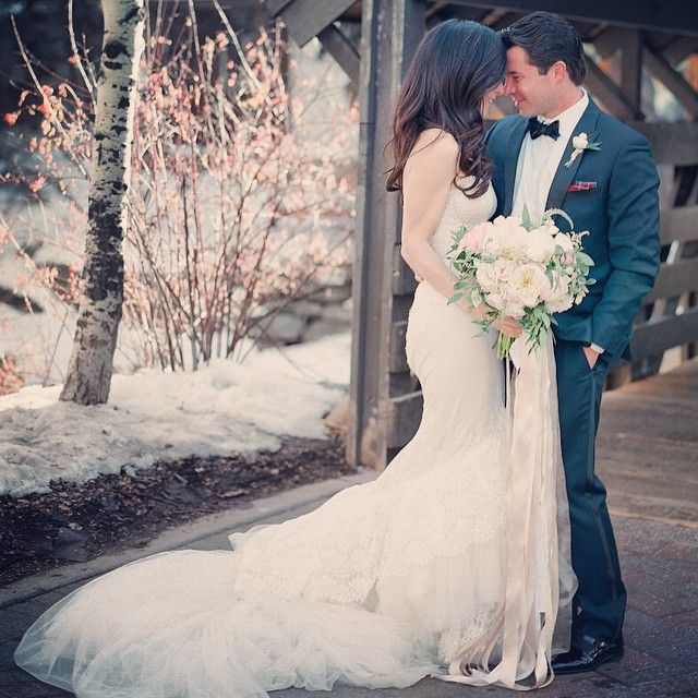 """""""Yasmin + Chris's wedding is on @smpweddings today! We were honored to help plan their winter wedding in Vail! The bride & groom, their families and guests…"""""""