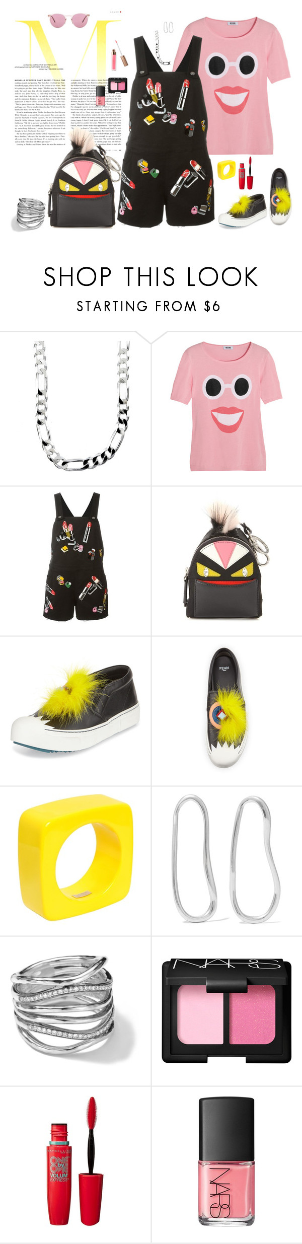 """""""OMF&G - Oliver, Moschino, Fendi, and Giamba"""" by riquee ❤ liked on Polyvore featuring Sterling Essentials, Boutique Moschino, Giamba, Fendi, Dsquared2, Sophie Buhai, Ippolita, NARS Cosmetics, Maybelline and Oliver Peoples"""