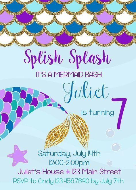 Mermaid Birthday Invitation, Mermaid, Mermaids, Invitations, Birthday