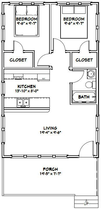20x32 Tiny House 20x32h4 640 Sq Ft Excellent Floor Plans Add A Closet By The Bathroom Tiny House Floor Plans Shed Plans Floor Plans