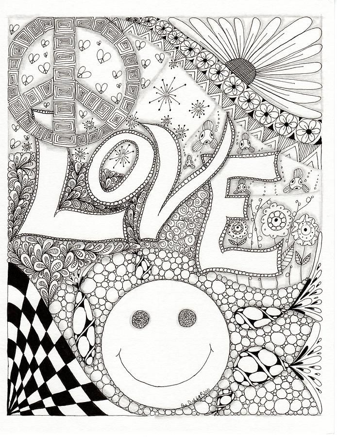 Peace Love And Happiness Drawing - Peace Love And Happiness Fine ...