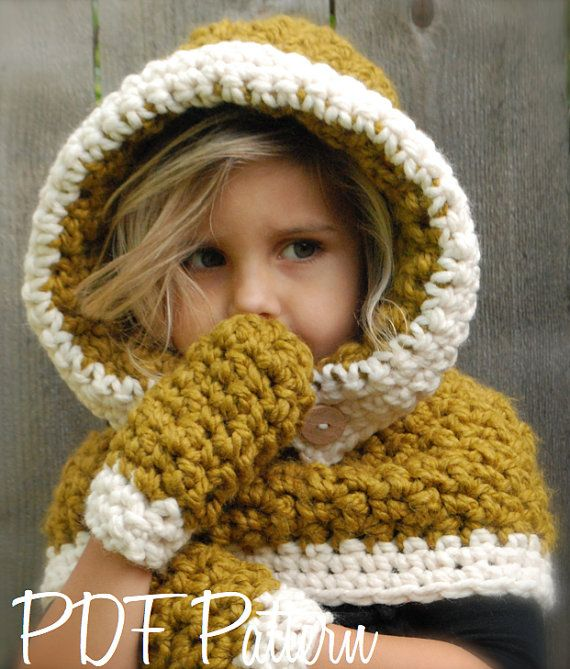 Crochet PATTERN-The Fern Hood/Mitten Set (3/6, 6/12, 12/18 months ...