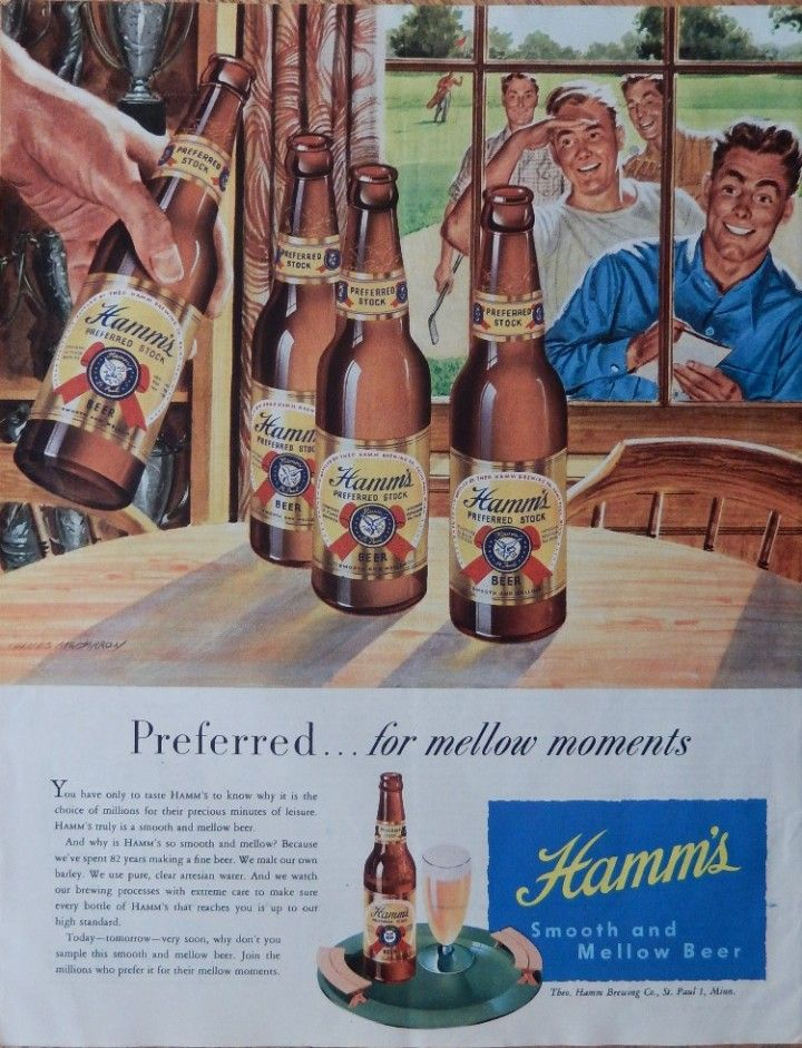 Hamm S Beer 40 Print Ad Color Illustration Fantastic Scarce Old After Golf Game
