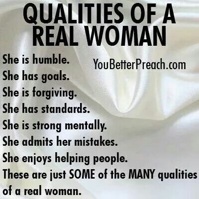 Qualities in a good woman