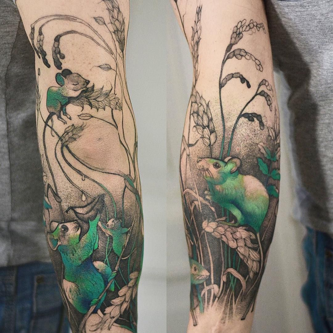 """Photo of Tattooer, Wroclaw, Poland on Instagram: """"The end of mouse arm 🌿✨🔥 done at @nasza_kosmiczna #equilattera #illustration #tatts #delicatetattoo #mouse #ink #graphic #plants #sleeve…"""""""
