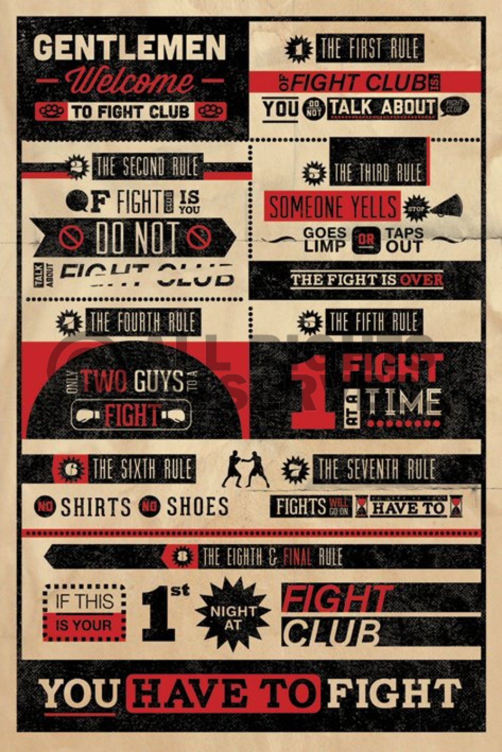 Poster design rules - Fight Club Movie Poster Gentlemen Welcome To 24x36 Brad Pitt 8 Rules