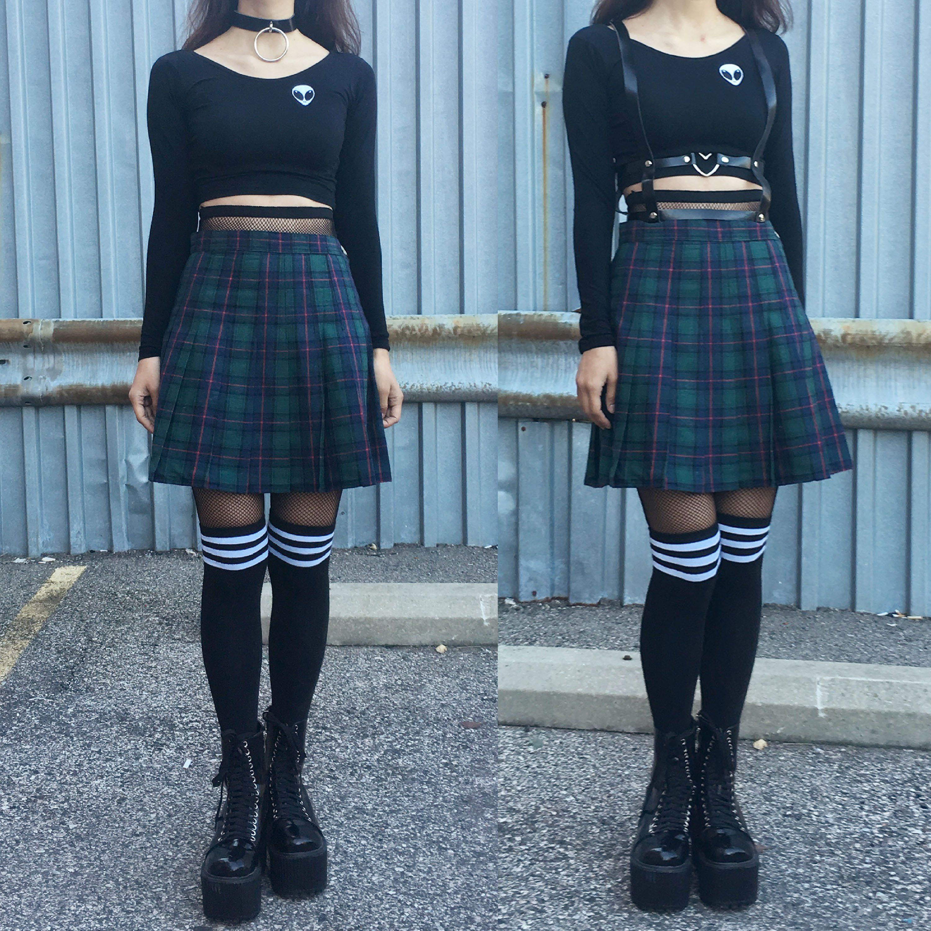 d8af7981d959 NEW- 90s grunge GREEN PLAID OUTFIT in 2019 | Bottoms | Outfits ...