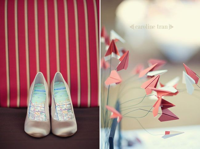 How cute are those shoes! Perfect for travel themed wedding.