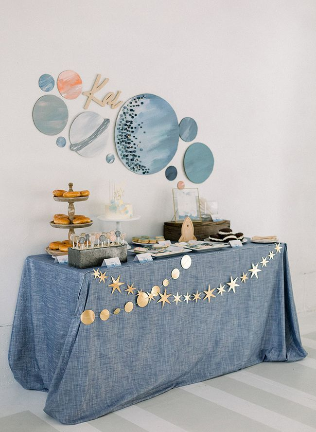 Space Themed Birthday Party in Galaxy Blue - Inspired by This #outerspaceparty