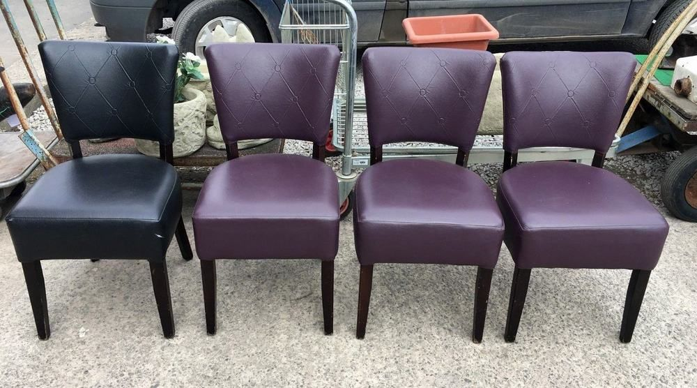 Set Of 4 Mix Purple Black Faux Leather Dining Chairs Cafe Bar