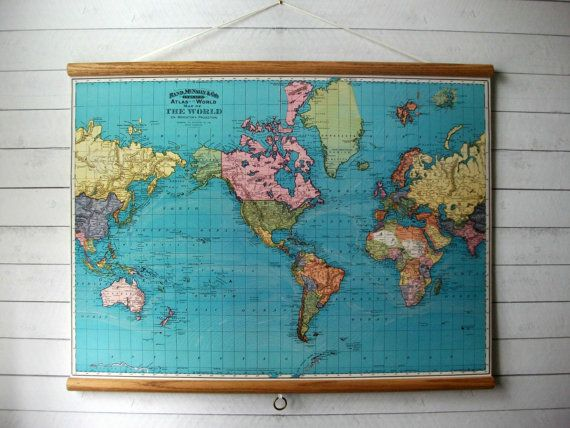 World map 1897 vintage pull down reproduction canvas fabric or large canvas vintage pull down style school map with oak wood trim world map 1897 gumiabroncs Image collections