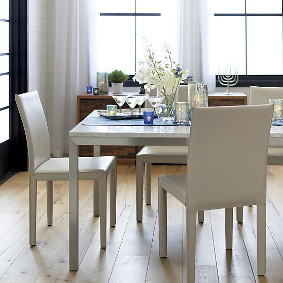 Parsons White Marble Top Stainless Steel Base Dining Tables Crate And Barrel High Dining Table Dining Table Dining Table Setting
