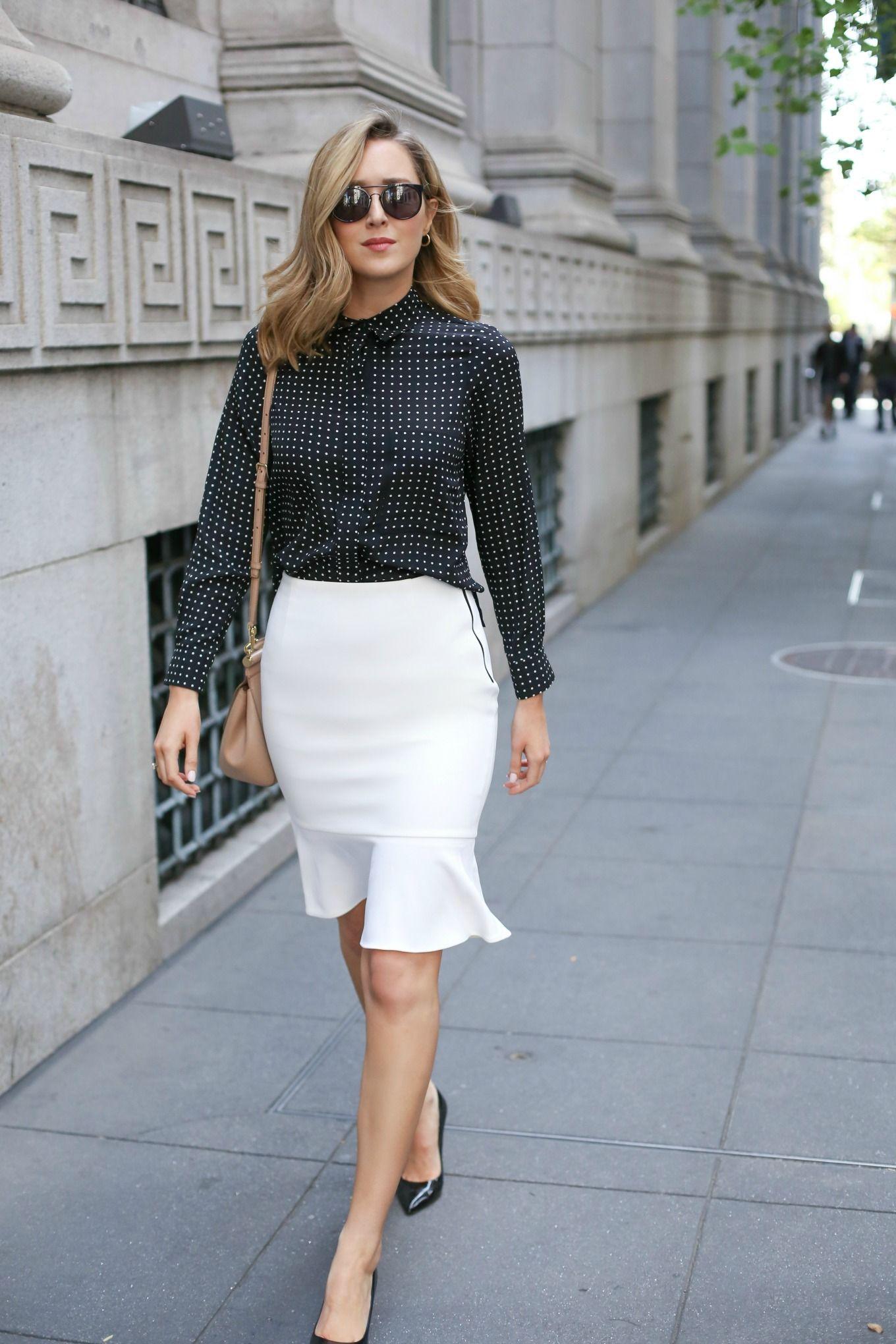 Flounce Hem Pencil Skirt and Polka Dot Blouse - MEMORANDUM ...