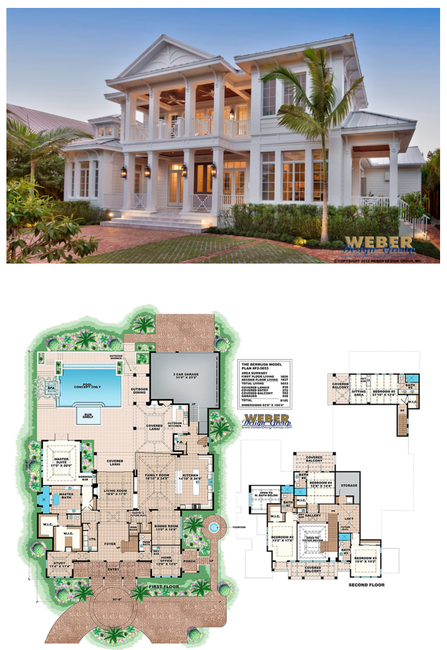 West Indies House Plan: 2 Story Caribbean Beach Home Floor Plan ...