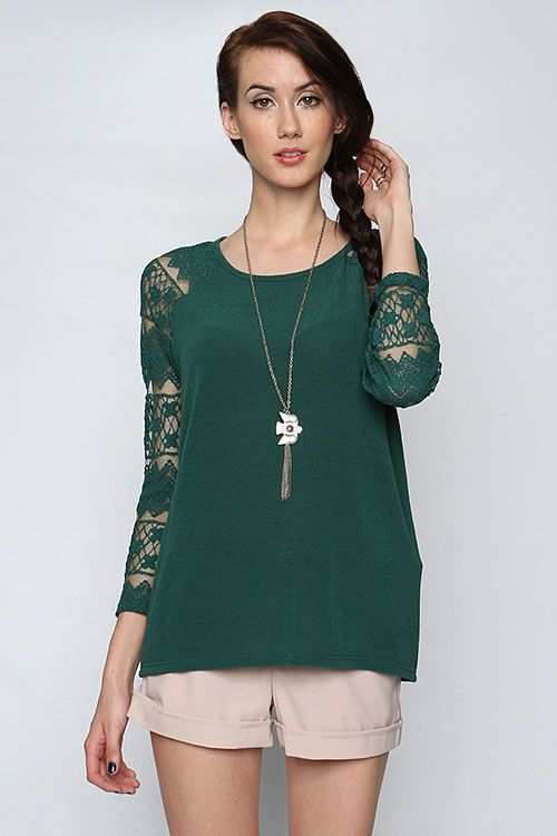 Bia lace sleeve top in evergreen all about blouses t shirts tops pinterest kleding - Volwassen kamer decoratie ideeen ...