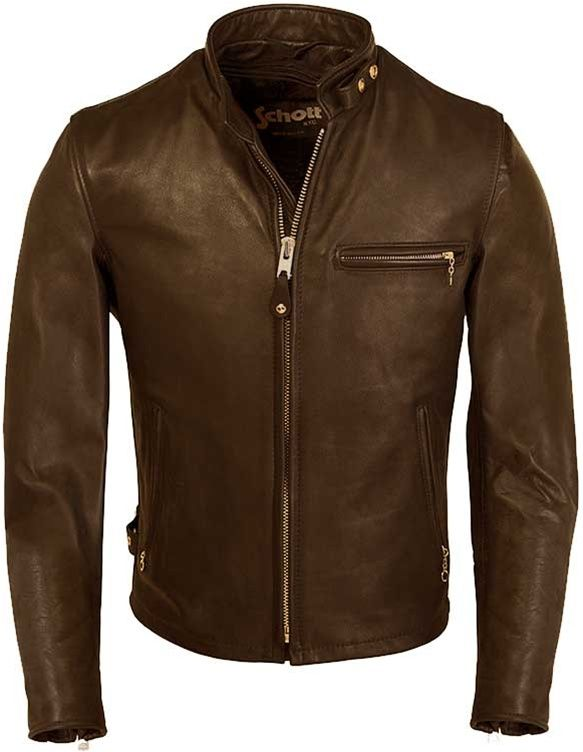 With brown naked leather jacket