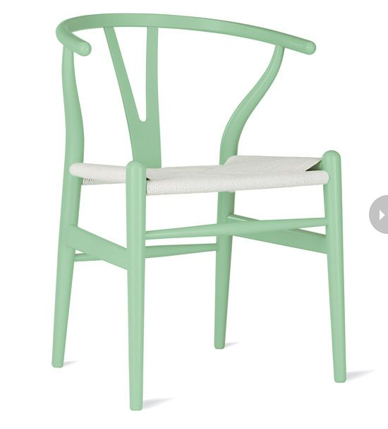 Mint Green Dining Chair With White Woven Seat