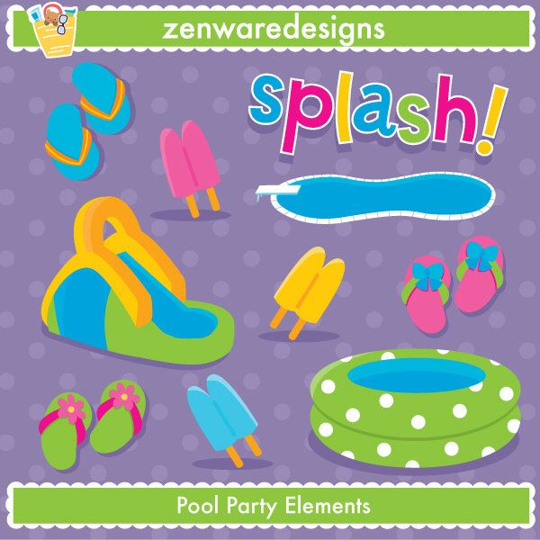 Pool Party Elements Clipart | Parties, Etsy and Pool parties