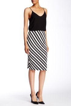 Vince Camuto Arrow Stripe Midi Skirt