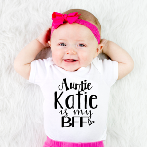 Funny Baby Grow Bodysuit Vest Girls 3-6 Months Personalised If Mum Says No Auntie Will Say Yes