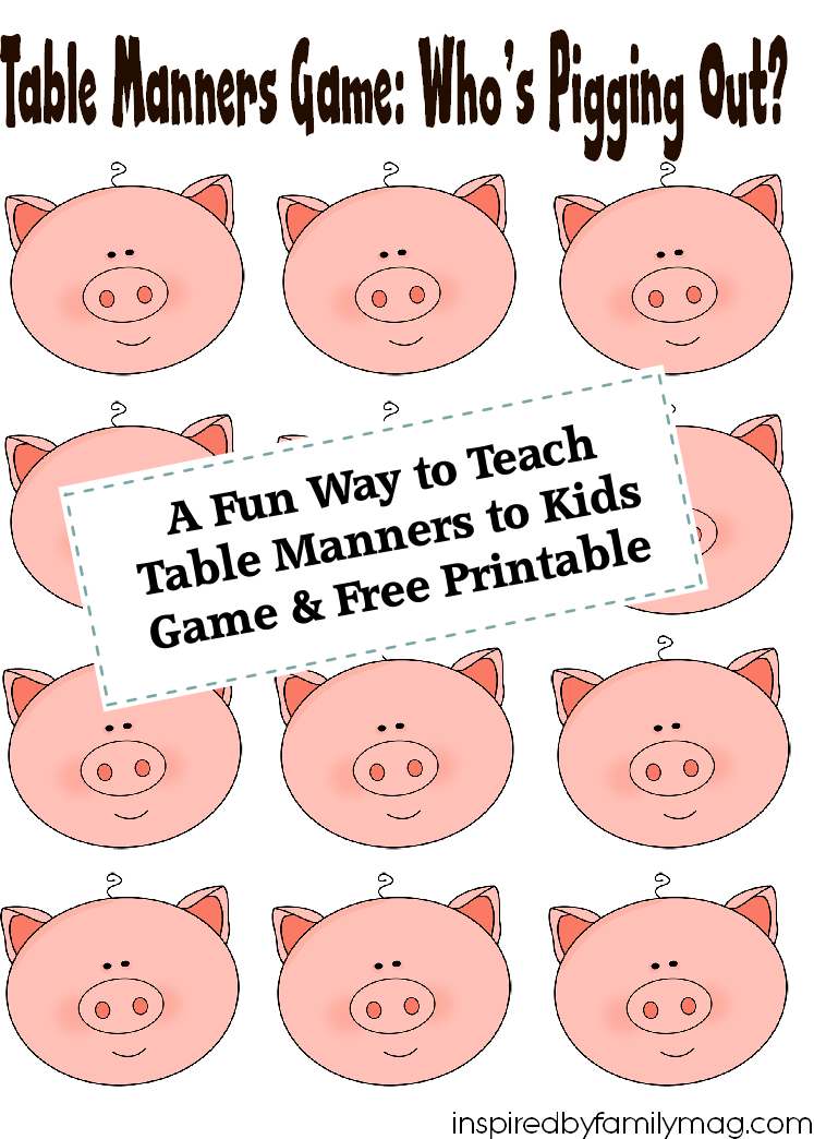 A fun way to teach table manners to kids free printable for Table etiquette