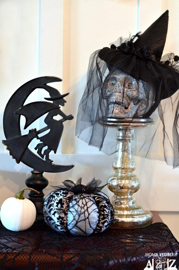 Witch Halloween Mantel Tutorial Decoration Inspiration