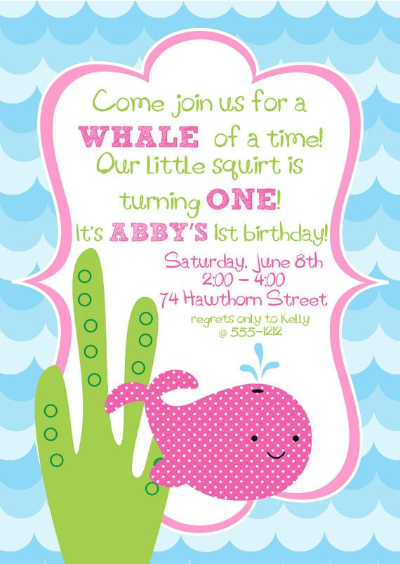 Cute Hot Pink Girly Whale Birthday Party Digital Invitation Whale