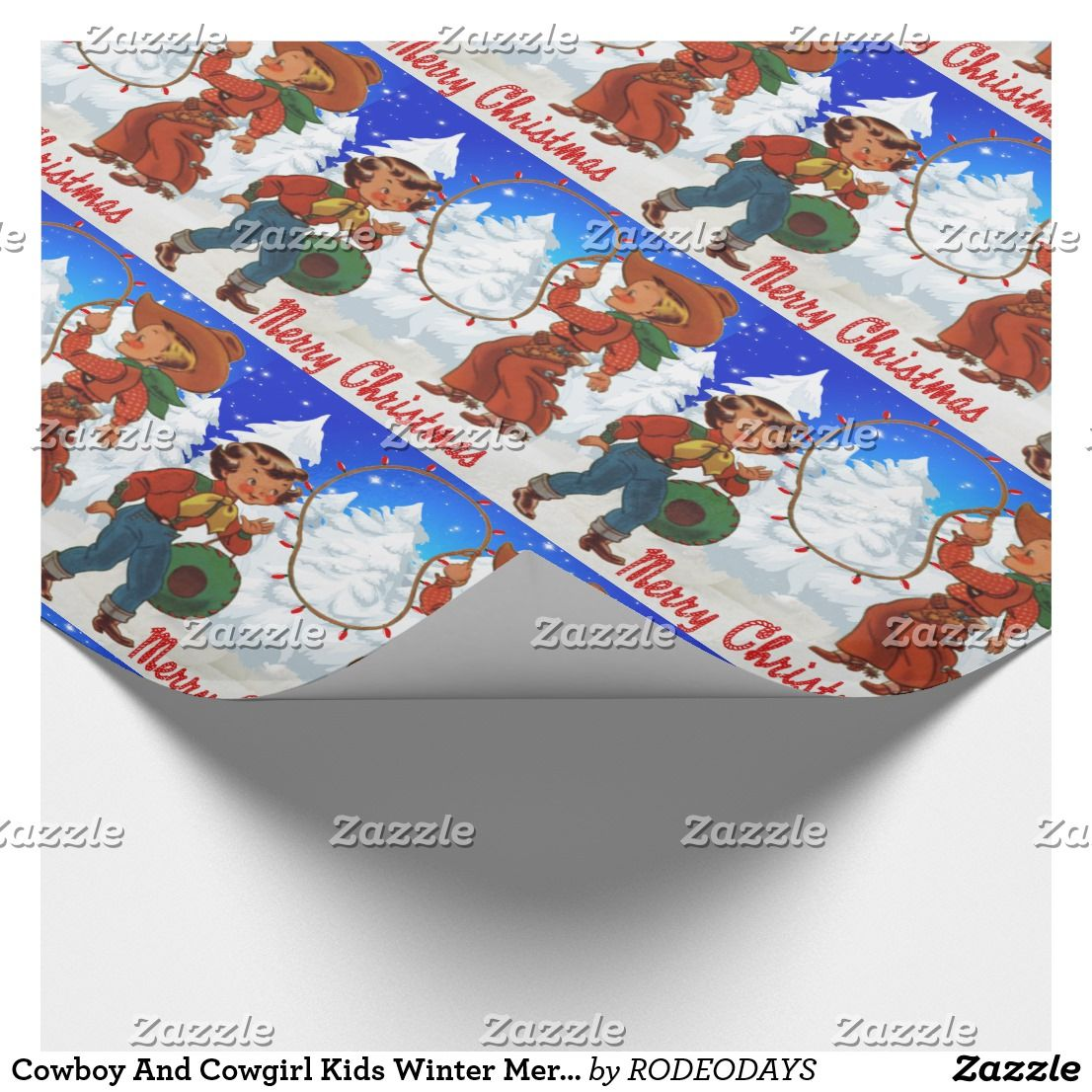 Cowboy And Cowgirl Kids Winter Merry Christma Wrapping Paper ...