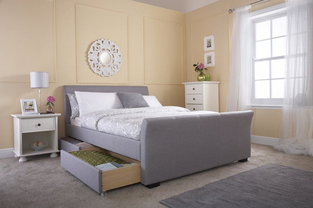 Gfw Hannover Storage Bed In Light Grey Fabric Upholstered Bed