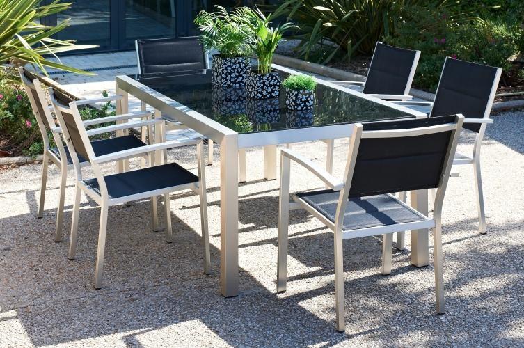 Salon de jardin en aluminium et verre trempé HAVANA : Ce salon de ...
