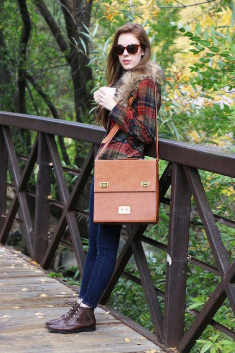 Faux fur and hot coffee...hello fall! #fur #plaid #fall