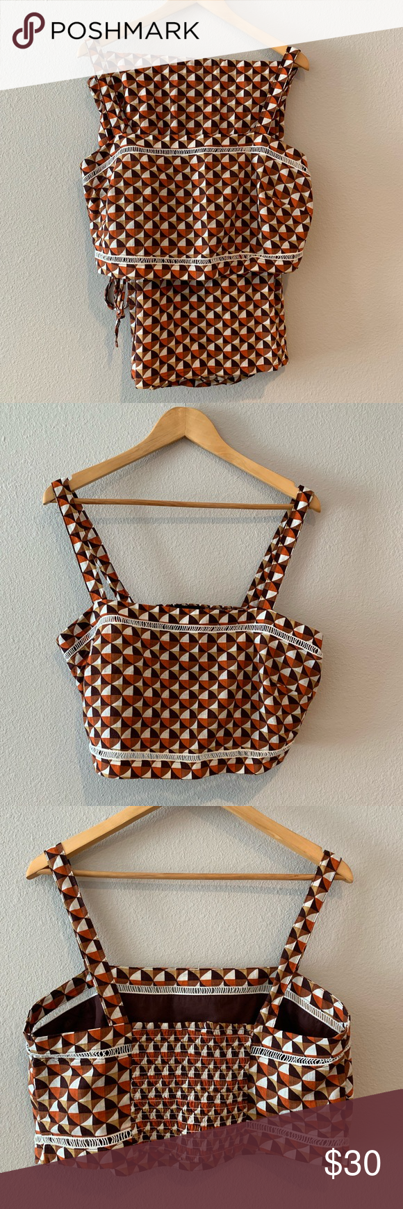 Forever 21 Crop Top Set Crop top set worn a couple of times. No signs of wear and in excellent condition. I bought it for a 70s themed birthday party and it was perfect!  Bottoms have drawstring and fit like an XL Forever 21 Other #70sthemeparties