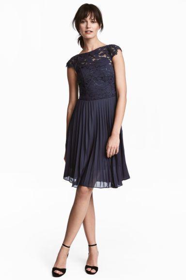 8e76b325b0 Plisowana sukienka - Ciemnoniebieski - ONA