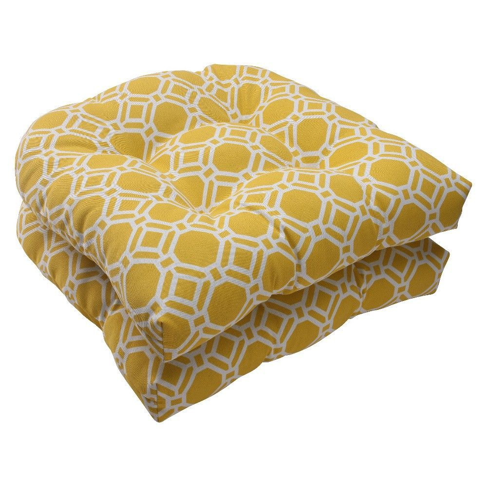 Delicieux Outdoor Rounded Chair Cushion   Yellow/White Rossmere Geometric