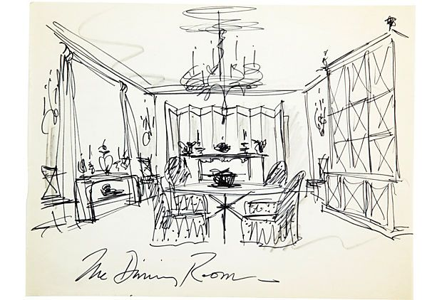 Sketch of a dining room. Marker on paper.