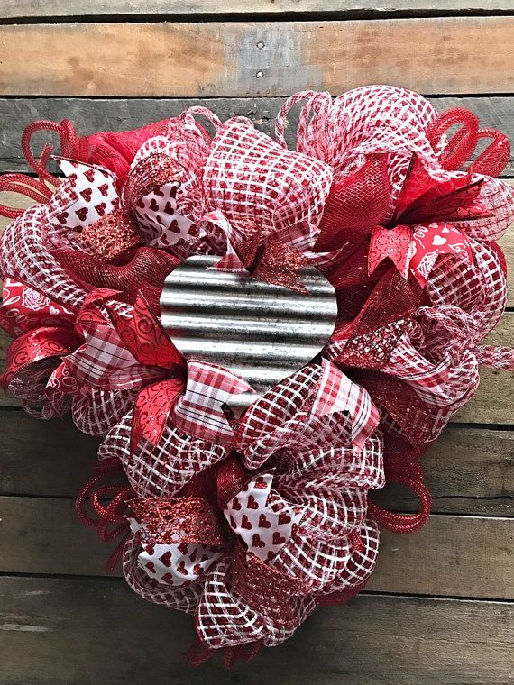 Valentines Wreath, Heart Wreath, Valentines Day Wreath, Heart Shaped Wreath, Door Wreath, Front Door Wreath, Valentines Decor, Home Decor  IN STOCK AND READY TO SHIP!  Heart full of love for Valentines Day! This adorable heart shaped wreath is full and festive! Made on a heart shaped wreath form with red foil deco mesh, red/white open weave mesh, coordinating wired ribbon, deco mesh tubing and a tin heart accent in the center. Very cute design to dress up that front door for Valentines Day…