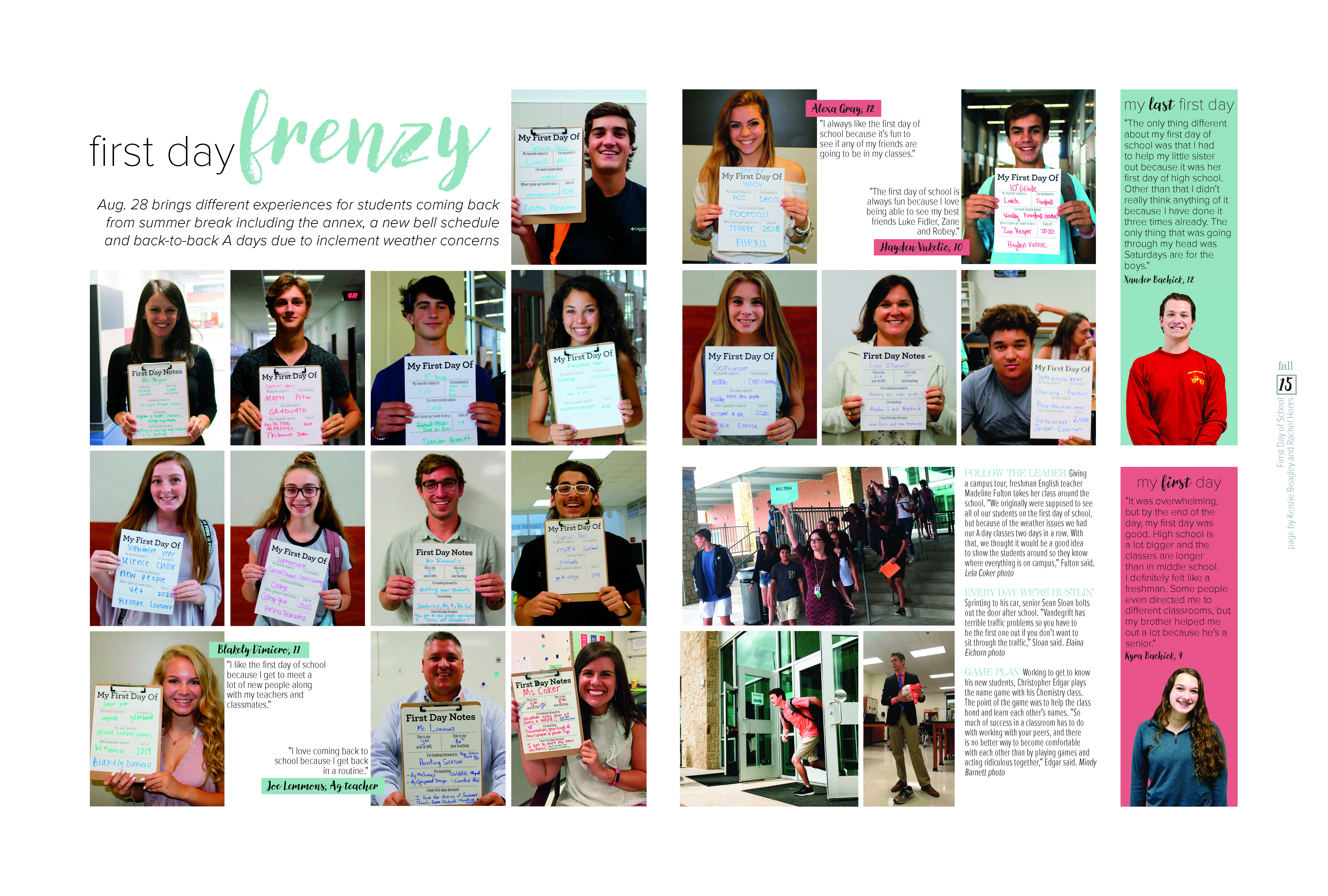 Vandegrift High School Austin Tx Students And Teachers Share Impressions Of First Day Of School In Fun Forma Yearbook Layouts Yearbook Design Yearbook Pages