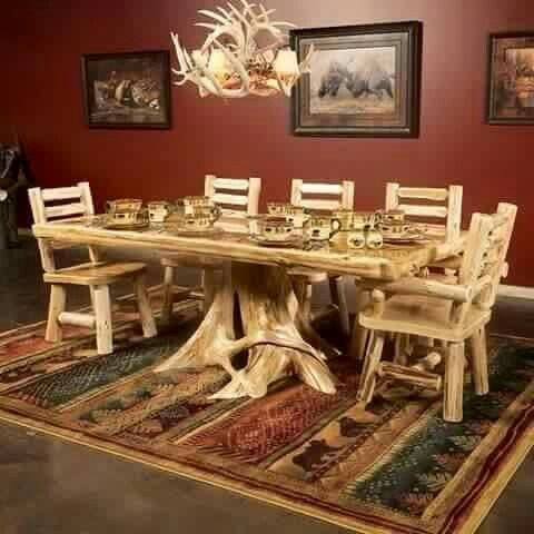 Pine Dining Table and Chair and Antler Chandelier