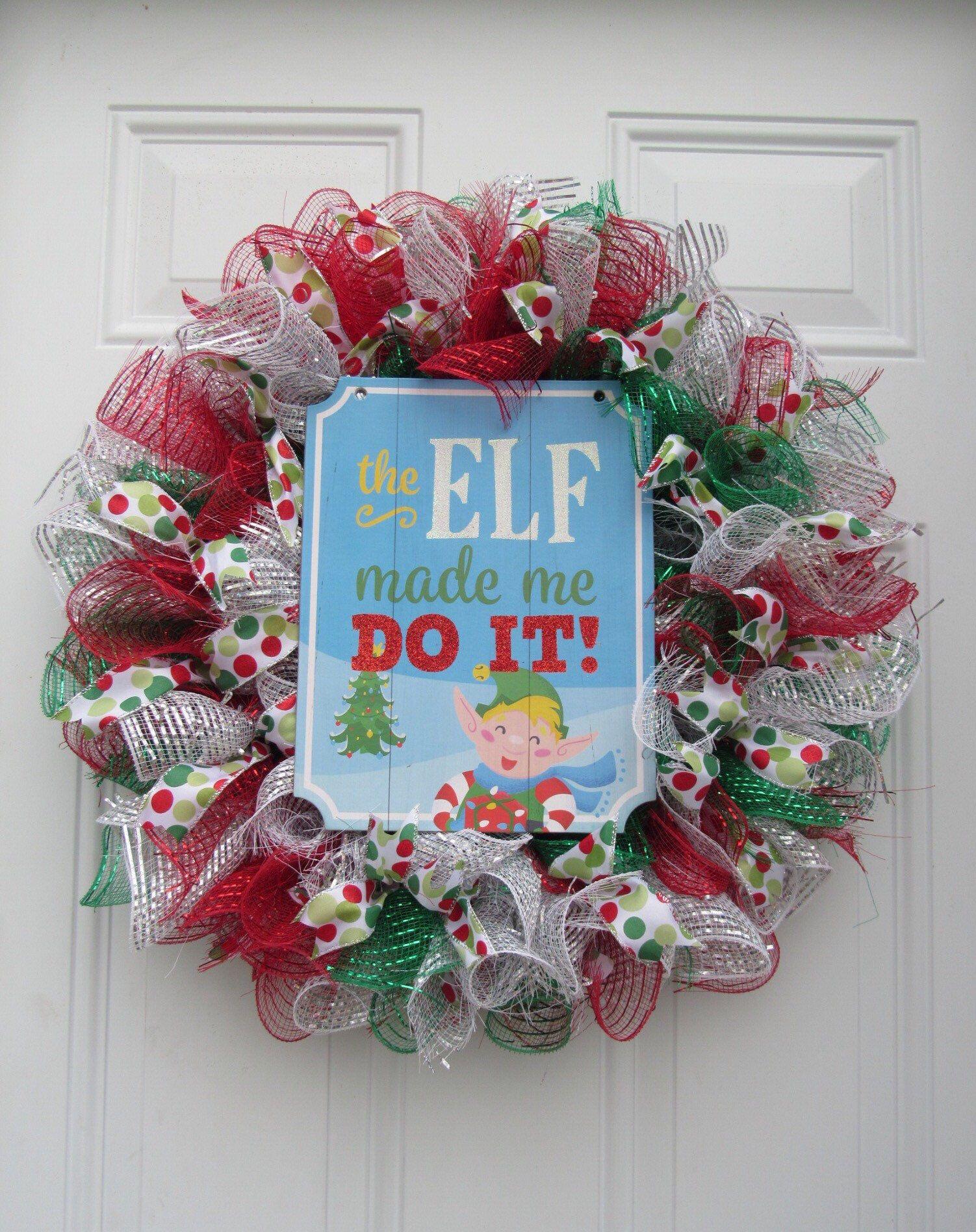 Elf Christmas Deco Mesh Wreath #decomeshwreaths