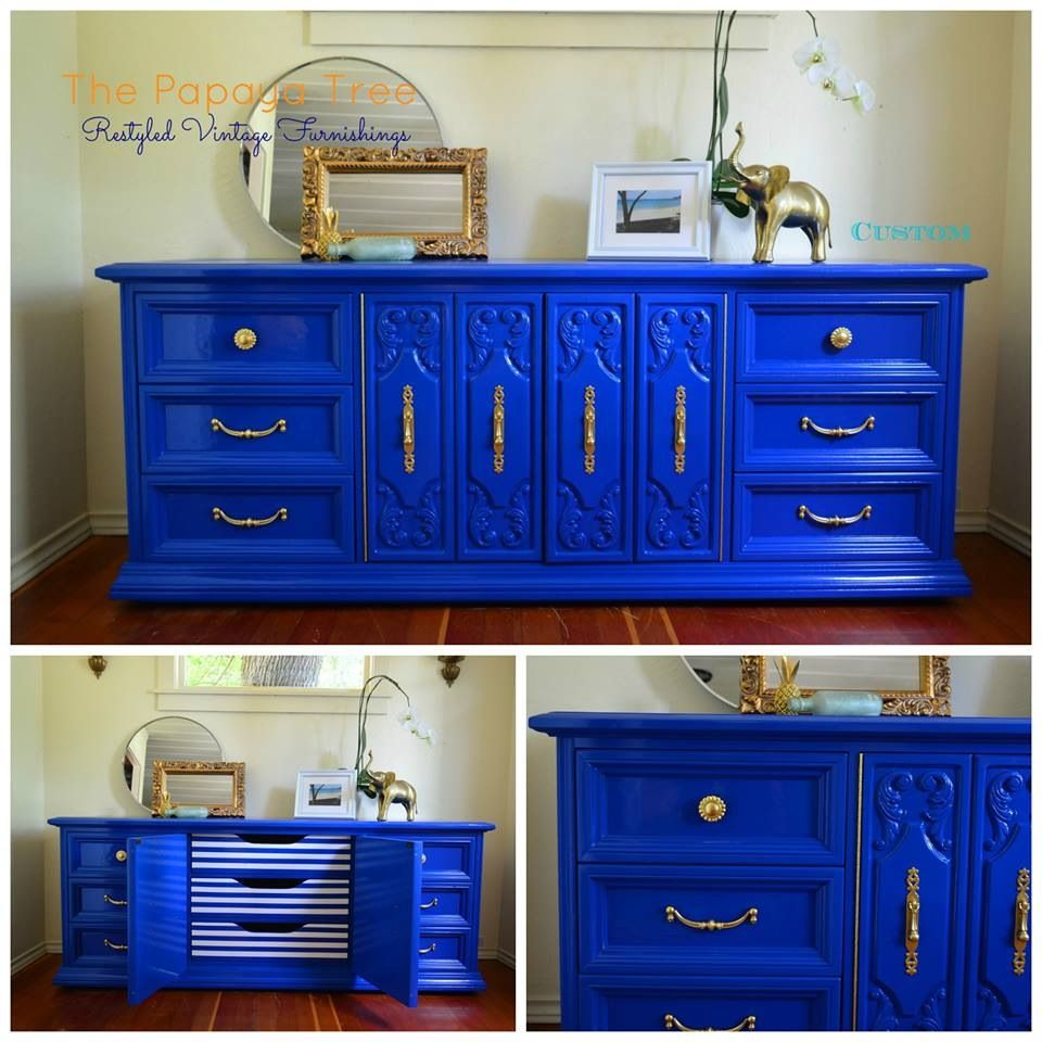Cobalt Blue Nautical Custom Order Lacquer Oversized Dresser From The Papaya  Tree.